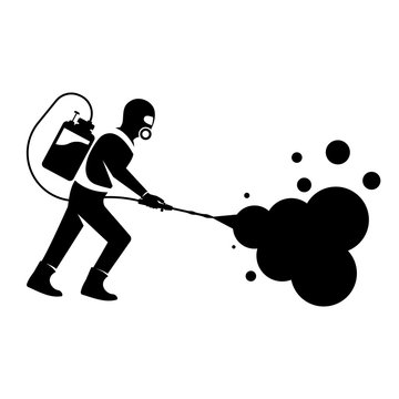 Black silhouette disinfection. Icon man in hazmat. Protective suit, gas mask for disinfection coronavirus. Toxic and chemicals protection. Spraying antibacterial. Biological precaution. Vector flat