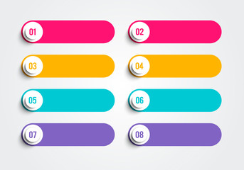 Vector illustration information graphic bullet points. option set  for business in retro colors.