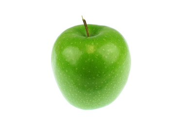 Wall Mural - single green apple isolated on white background