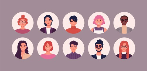 Wall Mural - Bundle of different people avatars. Set of colorful user portraits. Male and female characters faces. Smiling young men and women avatar colletion. Vector illustration in flat cartoon style