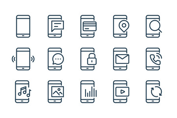 Mobile Phone Functions and Settings line icons. Smartphone technology vector linear icon set.