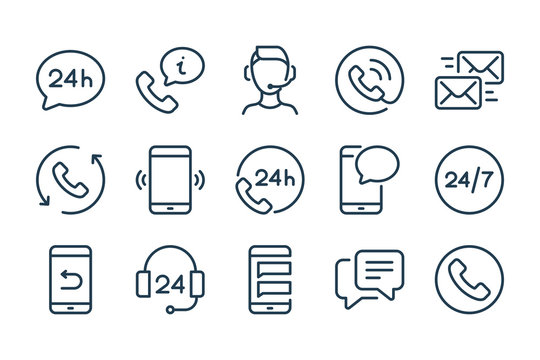 Support and Call Center line icons. Helpline and Support service vector linewar icon set.