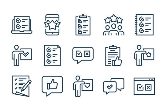 Survey, Review and Feedback related line icon set. Quiz and Questionary vector icons.