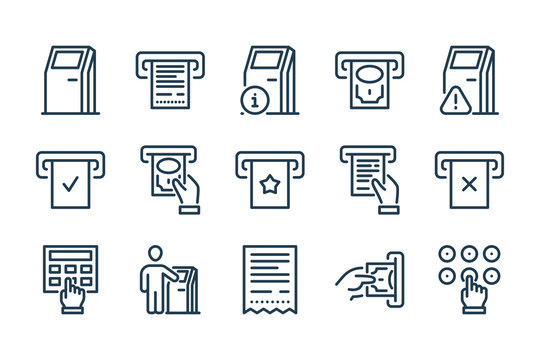 Self-service Terminal and Kiosk related line icon set. Interactive stand and Payment Terminal line vector icons.