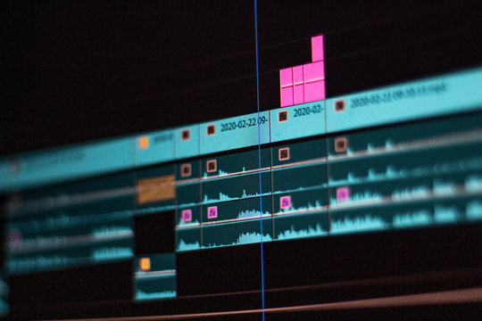 close up of a video editing timeline