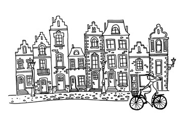 Wall Mural - Vector sketch of Traditional architecture in the town of Bruges (Brugge), Belgium