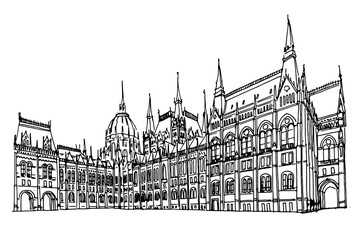 Wall Mural - Vector sketch of Hungarian Parliament Building. Budapest, Hungary.
