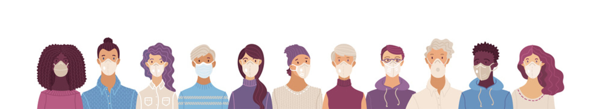 Women and men wearing safety breathing masks