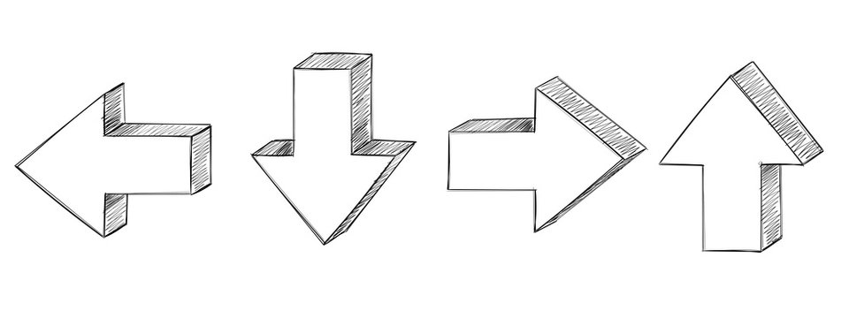 Arrows. Hand drawn sketch. Up, down, back, forth