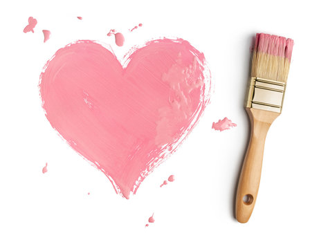 Perfect paintbrush with pink heart on white