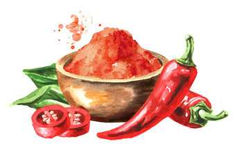 Fototapeta Bowl with Red hot chili pepper powder and pods. Hand drawn watercolor illustration  isolated on white background obraz