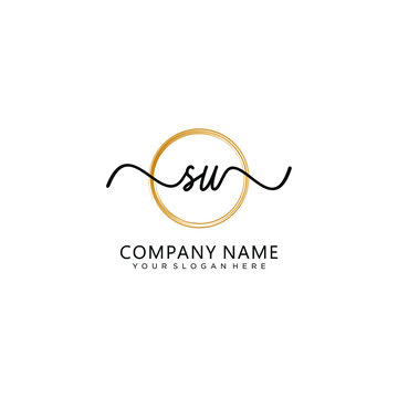 SU initial Handwriting logo vector template