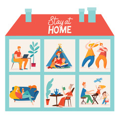 Stay at home vector quarantine illustration with family spend time together