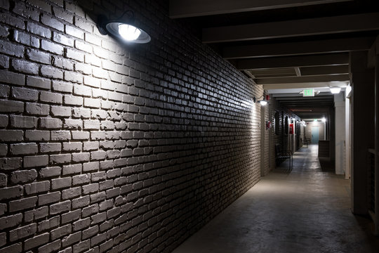 Modern structure corridor in hotel at night