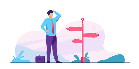Pensive businessman making decision. Man in office suit standing at road direction signs. Vector illustration for opportunity, solution, idea concept
