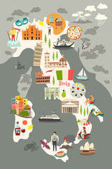 Fototapete - Italy poster. Cartoon map of Italy for kid/children. Italian landmarks vector cute poster. Illustrated card. Italian mozzarella and pizza, travel attractions and landmarks