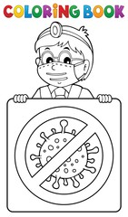 Foto auf Acrylglas Für Kinder Coloring book doctor with sign theme 1