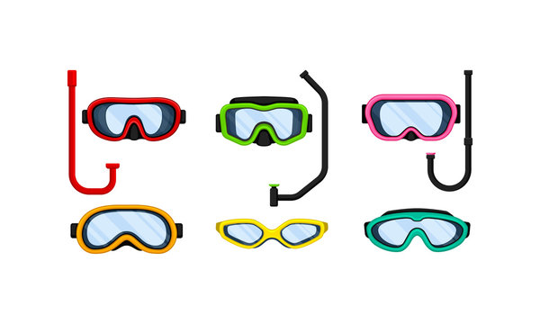 Scuba Goggles and Snorkel of Different Color and Shape Vector Set
