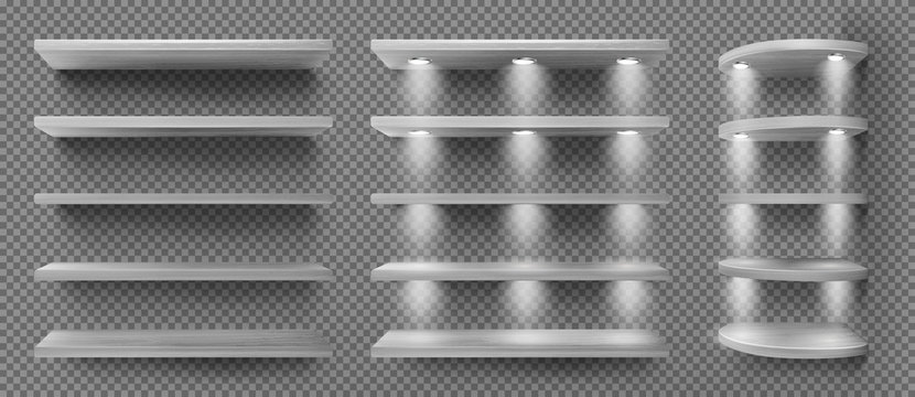 Gray wooden shelves with backlight, front and corner racks on transparent wall background. Empty clear illuminated ledges or bookshelves. Design element for room decoration, Realistic 3d vector