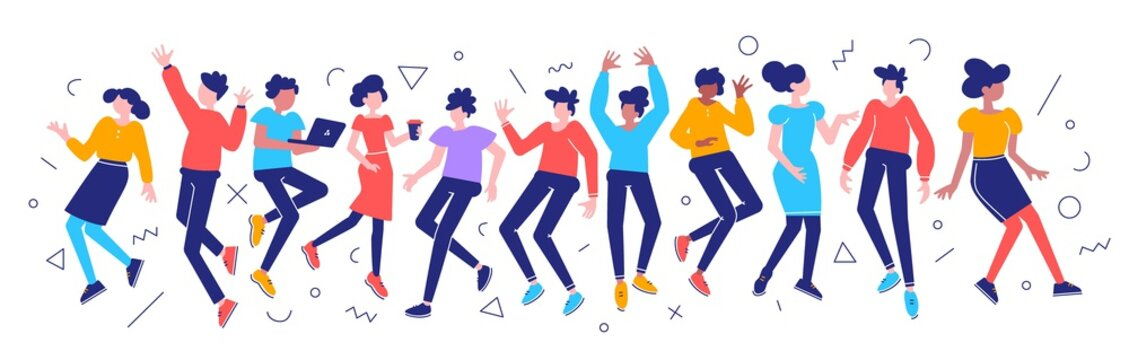 Vector bright color illustration of group of young happy dancing