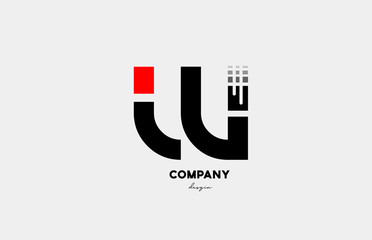 black red W alphabet letter logo icon design for business and company