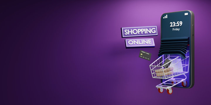 Cart shopping out of smartphone at night friday.Cart with shopping bags loaded.3D render.