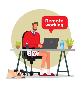 Man in underwear working from home in his desk with a cup of coffee, a bottle of water, plants, windows, and a pug dog.