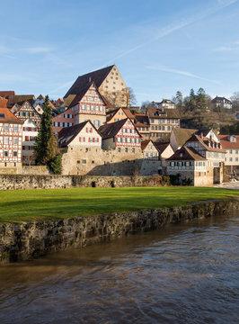 Stadtansicht von der mittelalterlichen Stadt Schwäbisch Hall in Badem-Württemberg in Deutschland