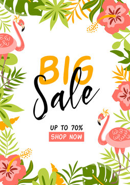 Summer sale banner. Big sale template with pink flamingo Summer background with tropical palm leaves flowers Vector card