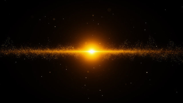 gold particles flare abstract background with shining golden big bang particle stars dust on dark galaxy. Beautiful futuristic glittering in space on black background.