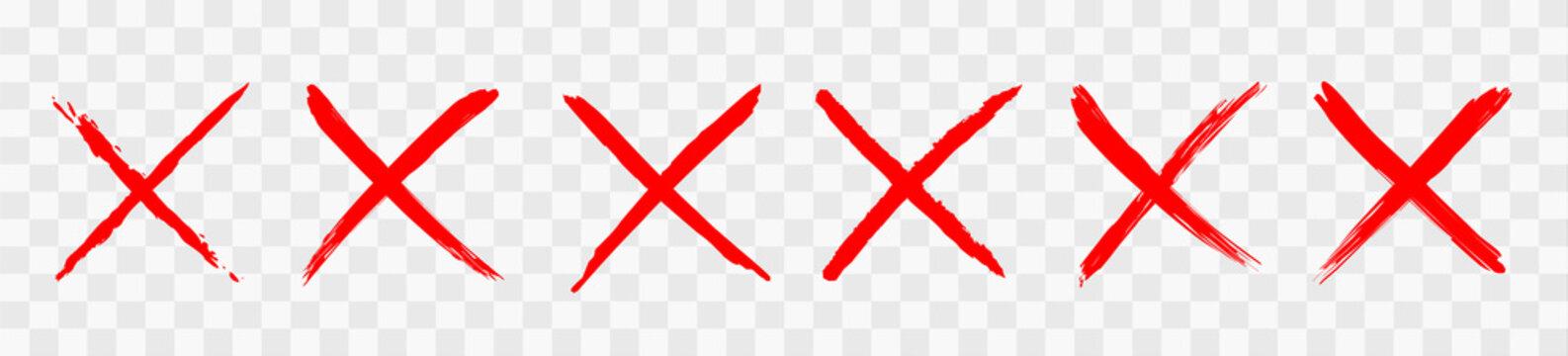 Red wrong mark. Vector illustration