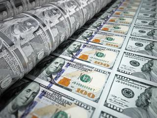 Money printing machine printing 100 dollar banknotes. 3D illustration