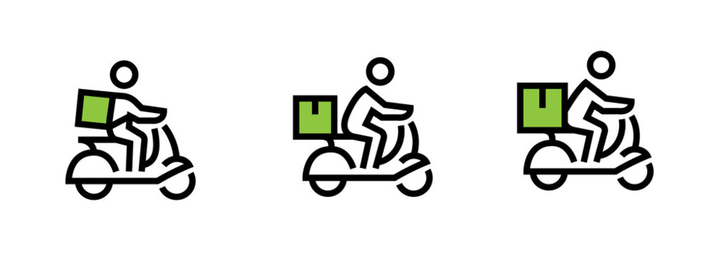 Set of delivery icons a bike courier with a cargo of small, medium and large. Editable line vector.