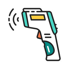 Non-contact infrared thermometer color line icon. Epidemic prevention. Pictogram for web page, mobile app, promo. Editable stroke