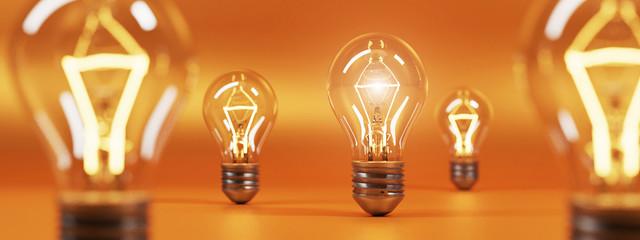 bulb on orange background. 3D rendering.