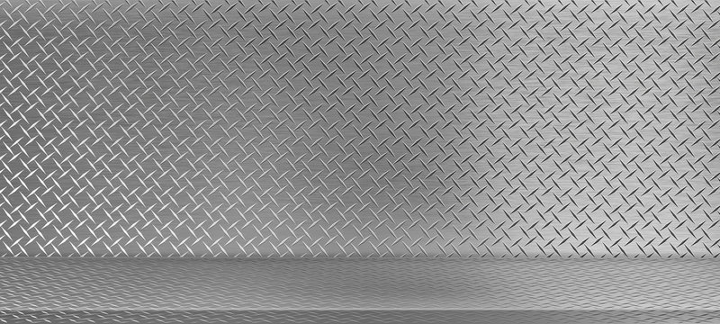 Perspective aluminum diamond plate texture, Iron sheet shelf table used as a studio background wall to display your products.  illustration