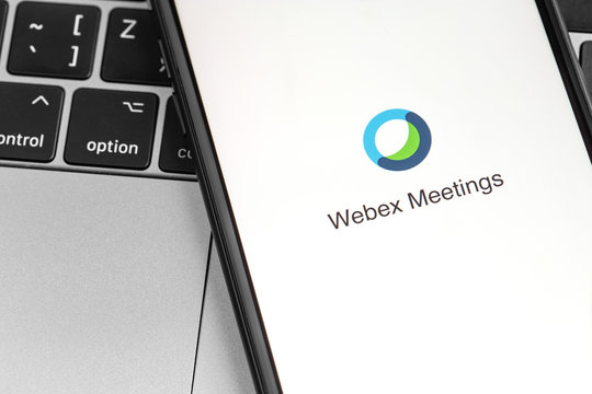 Webex Meetings app logo on the screen smartphone. Webex Meetings is one of popular application offering cloud meeting or video conference. Moscow, Russia - April 1, 2020