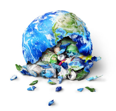 Global pollution concept. A planet broken to trash isolated on a white background
