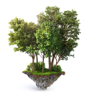 Eco concept. Trees on the piece of ground. 3d illustration
