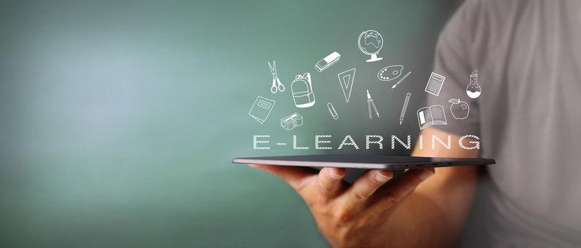 Concetto di formazione online tramite dispositivi multimediali