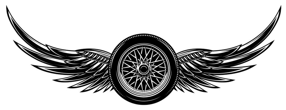 Vector monochrome illustration with wings and wheel