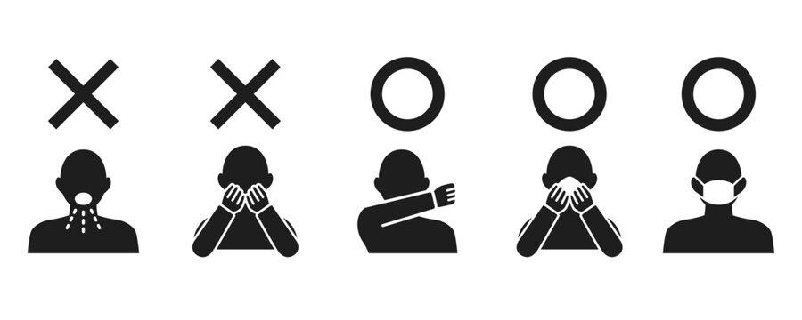 Icon set representing cough etiquette