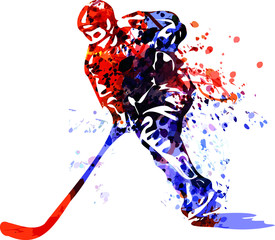 Color vector illustration of hockey player