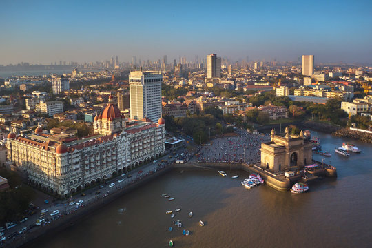 Mumbai ocean line and gate of India, aerial drone view