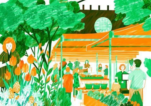 Illustration of people at farmer's market