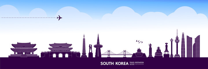 Fototapete - South Korea travel destination grand vector illustration.