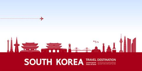 Wall Mural - South Korea travel destination grand vector illustration.