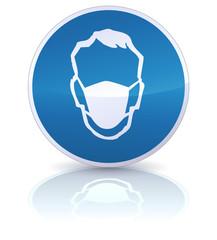 Panneau port du masque obligatoire (reflet métal)