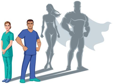 Nurse Superheroes Shadow