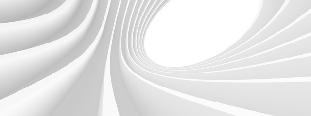Fotobehang - Abstract Architecture Background. White Circular Building. Geometric Graphic Design